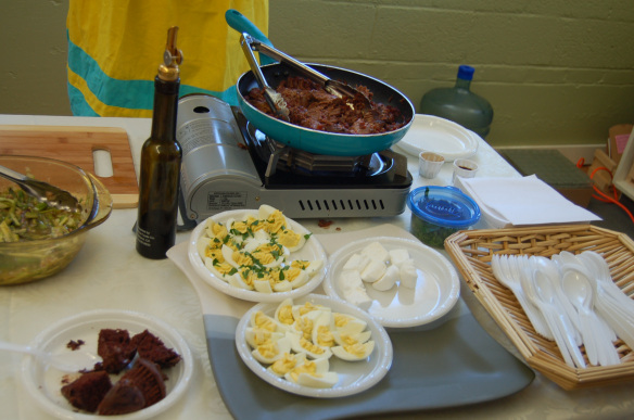 Braised lamb shanks, deviled eggs, chocolate cake and marshmallows served up at Monadnock Oil and Vinegar, LLC